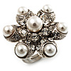 Bridal Pearl Style Crystal Floral Ring (Silver Tone)