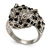 Diamante 'Leopard' Rhodium Plated Ring