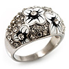 Dome Shaped Crystal Flower Ring (Silver Tone)
