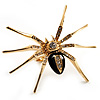 Gold Black Enamel Swarovski Crystal Spider Cocktail Ring - Size 7