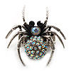 Stunning Iridescent Crystal Spider Stretch Cocktail Ring (Burn Silver Metal)