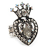 Burn Silver Crystal Crown & Heart Stretch Ring
