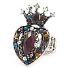 Burn Silver Multicloured Diamante Crown &amp; Heart Stretch Ring