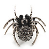 Stunning Black Crystal Spider Stretch Cocktail Ring (Burn Silver Metal)