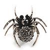 Stunning Black Crystal Spider Stretch Cocktail Ring (Burn Silver Metal)