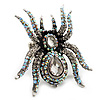 Oversized Clear Crystal Spider Stretch Cocktail Ring (Silver Tone)