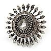 Vintage Filigree Crystal Stretch Ring (Burn Silver Metal) - 4cm Diameter