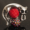 Burn Silver Red Diamante Cat &amp; Mouse Stretch Ring