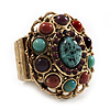 Vintage Turquoise Diamante Oval Flex Ring (Antique Gold Finish) - Size 7/8