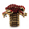 Antique Gold Red Crystal Frog Flex Ring