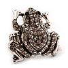 Clear Diamante Frog Flex Ring (Antique Silver Metal) - Size 8/9 (Stretch)