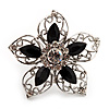 Silver Tone Filigree Black Diamante Flower Cocktail Ring - 5cm Diameter
