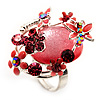 Exquisite Flower And Butterfly Cocktail Ring (Silver And Pink)