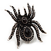 Oversized Jet Black  Crystal Spider Stretch Cocktail Ring In Antique Gold Plating
