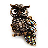 Charming Clear Diamante Antique Gold Owl Stretch Ring - Size 8/9