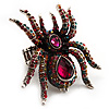 Oversized Multicoloured Crystal Spider Stretch Cocktail Ring (Silver Tone)
