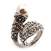'Calla Lily' Wrap Simulated Pearl Diamante Ring (Silver Tone)