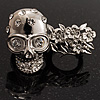 Silver Tone 'Skull & Flowers' Diamante Double Finger Stretch Ring