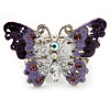 Purple Enamel Crystal Butterfly Flex Ring In Rhodium Plated Metal