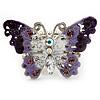 Purple Enamel Crystal Butterfly Flex Ring In Rhodium Plating