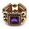 Gold Tone Multicoloured Flex Band Ring - Size 7/8 (Elasticized)