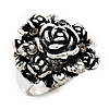 Vintage Rose Diamante Fancy Ring In Burn Silver Metal