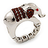 Rhodium Plated Diamante Elephant Stretch Ring