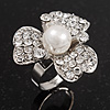 3 Petal Simulated Pearl Crystal Daisy Cocktail Ring In Rhodium Plating - 3cm Diameter