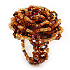 Light Brown Glass Bead Flower Stretch Ring