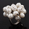 Freshwater Pearl & Bead Cluster Silver Tone Ring (White) - Adjustable 6/7 Size