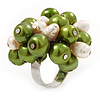 Freshwater Pearl & Bead Cluster Silver Tone Ring (Green & Ivory) - Adjustable