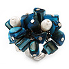 Freshwater Pearl & Shell Nugget Cluster Silver Tone Ring (Teal Blue & White) - Adjustable
