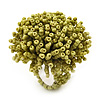 Lime Green Glass Bead Flower Stretch Ring