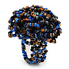 Large Multicoloured Glass Bead Flower Stretch Ring (Blue, Black & Brown)