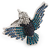 Bold Swarovski Crystal Bird Ring In Rhodium Plated Metal (Blue)