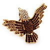 Bold Swarovski Crystal Bird Ring In Gold Plated Metal (Brown)