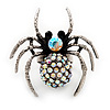 Stunning AB Crystal Spider Cocktail Ring in Burnt Silver Plating