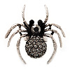 Stunning Black Crystal Spider Cocktail Ring (Burn Silver Metal)