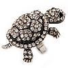 Large Crystal Turtle Ring In Burn Silver Metal - Adjustable