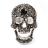 Dazzling Black Crystal Skull Cocktail Ring - Adjustable