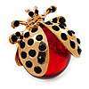 Large Crystal Ladybug Ring In Gold Plated Metal - Adjustable