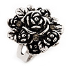 Rose Diamante Fancy Ring In Burn Silver Metal
