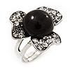 3-Petal Flower Diamante Fancy Ring In Burn Silver Metal