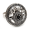 Button Shape Diamante Fancy Ring In Burn Silver Metal