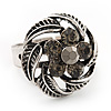 Flower Diamante Fancy Ring In Burn Silver Metal