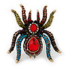 Oversized Multicoloured Crystal Spider Cocktail Ring (Antique Gold Finish) - Adjustable