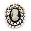 Large Pearl &#039;Classic Cameo&#039; Cocktail Ring In Black Tone Metal (Adjustable) - 5.5cm Length