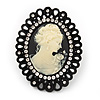 Large Diamante &#039;Classic Cameo&#039; Cocktail Ring In Black Tone Metal (Adjustable) - 6.5cm Length