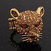 Citrine Swarovski Crystal 'Leopard' Stretch Ring In Burn Gold Plating - 7/9 Size