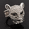 Clear Swarovski Crystal 'Leopard' Stretch Ring In Silver Plating - 7/9 Size